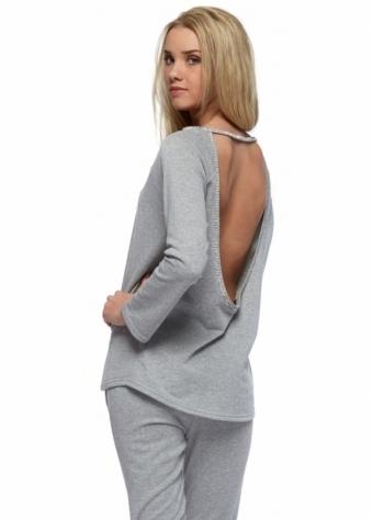 Designer Desirables Jessy Grey Crystal Trim Open Back Sweater Top
