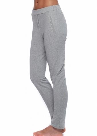 French Boutique Paris Grey Crystal Trim Cotton Lounge Pants
