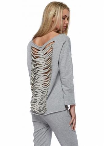 Designer Desirables Coco Grey Shredded Crystal Back Sweater Top