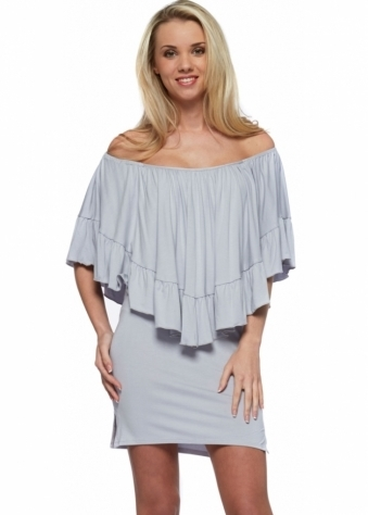 Silver Grey Off The Shoulder Frill Cape Dress