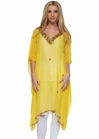Chiktones Yellow Kaftan With Gold Sequins Crystals & Beads