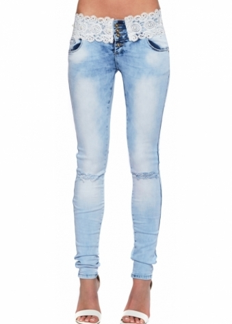 Designer Desirables Light Blue Lace & Pearl Waist Distressed Jeans