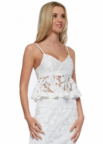 Pin Up White Lace Peplum Frill Cropped Top