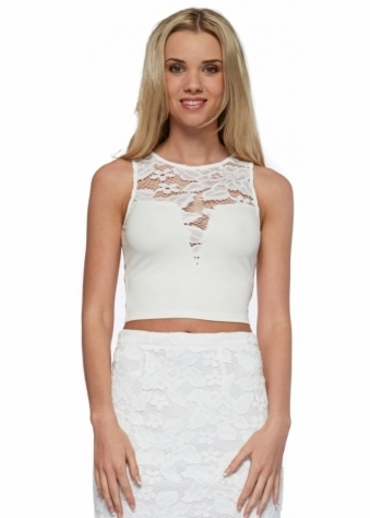 Drifter White Sleeveless Crop Top With Lace Insert