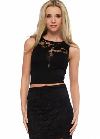 Drifter Sleeveless Black Crop Top With Lace Insert
