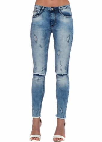 High Waisted Distressed Ripped Knee Ankle Grazer Jeans