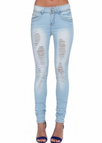 Ice Blue High Waisted Stretch Fit Creased Ripped Front Jeans