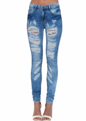 High Waisted Denim Blue Ripped Distressed Stretchy Creased Jeans