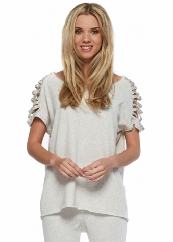 French Boutique Megan Cream Marl Shredded Crystal Sleeve Sweater Top