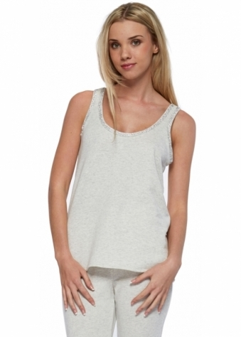 Pamela Cream Marl Crystal Trim Cotton Vest Top