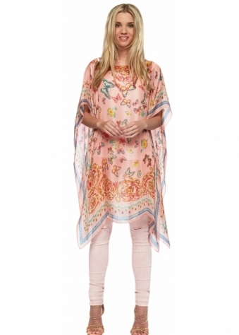 Designer Desirables Pink Oversized Open Kaftan Top With Multicoloured Butterfly Print