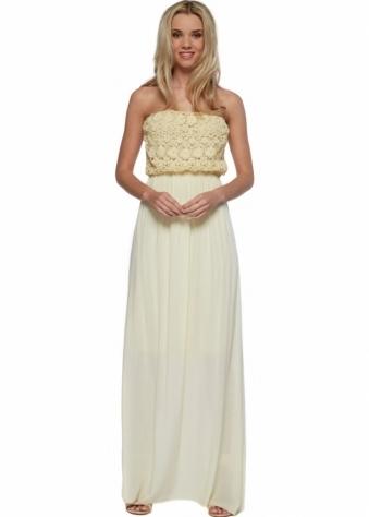 Sugar Babe Lemon Cotton Crochet Bandeau Bust Summer Maxi Dress