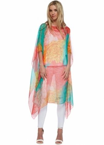 Designer Desirables Coral & Green Floral Print Open Kaftan Top