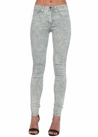 Grey Marble High Waisted Stretch Fit Jeans With Ripped Knees