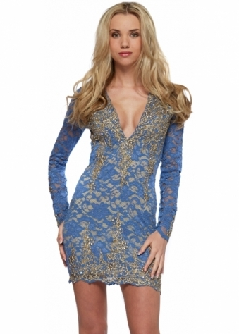Addison Dress In Denim Blue Lace With Gold Paint Accents