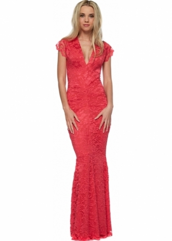 Honor Gold Adrianna Coral Lace Fishtail Maxi Dress