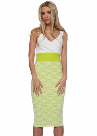 Madison Lime Green & White Bodycon Midi Dress
