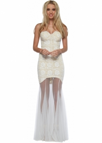 Jarlo Sydney Ivory Lace & Tulle Bustier Maxi Dress