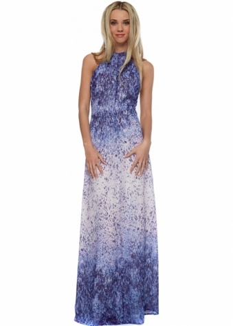 Jarlo Fabia Blue Watercolour Halterneck Maxi Dress