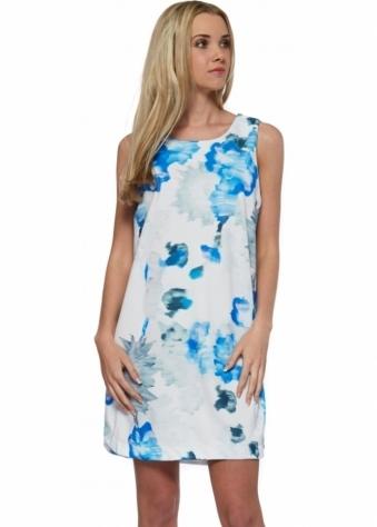 Designer Desirables Blue Floral Splash Sleeveless Shift Dress
