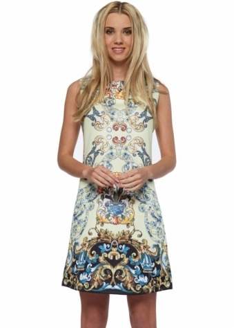 Designer Desirables Yellow Baroque Print Diamonte Front Shift Dress