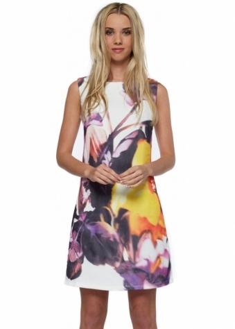 Designer Desirables White Floral Tulle Overlay Midi Shift Dress