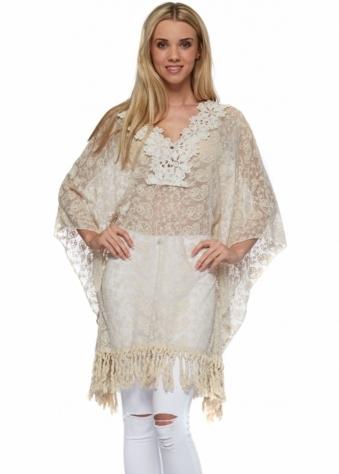 Designer Desirables Beige Embroidered Lace Fringed Kaftan Top
