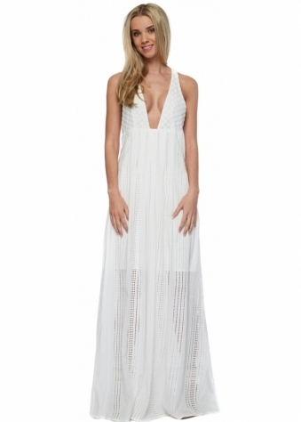North Of Fira Maxi Dress In White Cotton