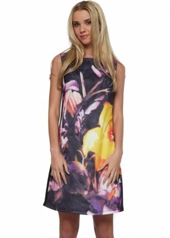 Sleeveless Black Floral Tulle Overlay Shift Dress