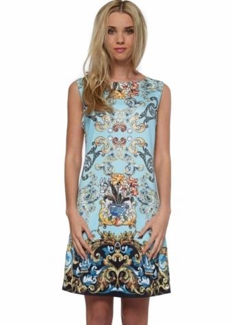 Designer Desirables Aqua Baroque Print Diamonte Front Shift Dress