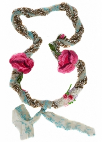 Antica Sartoria Green & Aqua Twisted Beads, Lace & Flowers Necklace