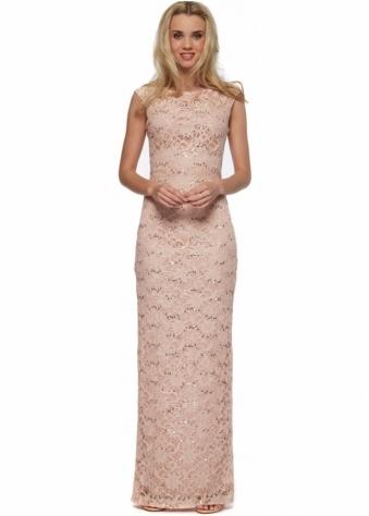 The Little Black Dress Felicity Pink Sequinned Evening Maxi Dress