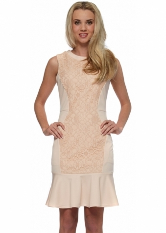 Dakota Nude Lace Peplum Hem Pencil Dress