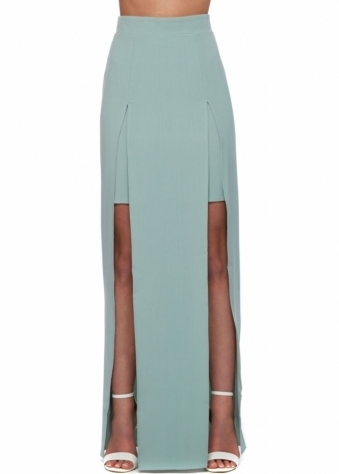 Maxi Skirt With Twin Splits In Pale Green