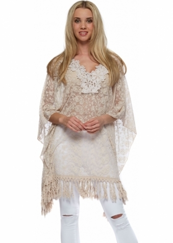 Designer Desirables Nude Embroidered Lace Fringed Kaftan Top