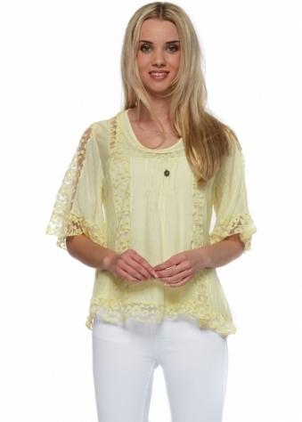 Sugar Babe Lemon Cotton & Silk Blouse With Lace Panels & Hem