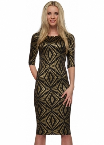 Designer Desirables Black Gold Foil Diamonds Sleeved Midi Dress