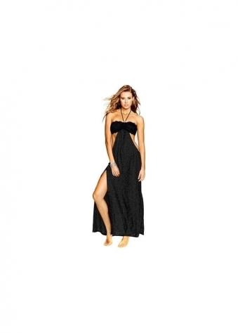 Black Natasha Beach Dress With Lace Bandeau Top