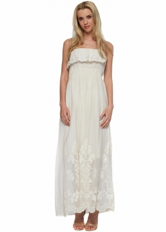 Beige Embroiderey Anglaise Frilled Bandeau Maxi Dress