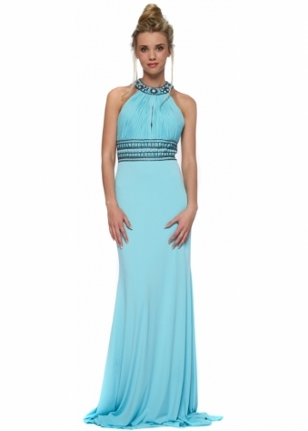 Aqua Backless Beaded Halterneck Felicity Maxi Dress