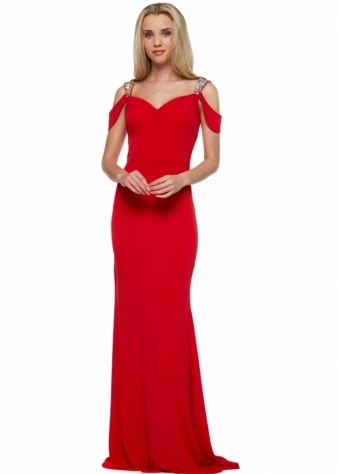 Corset And Dresses Red Raven Evening Dress With Jewelled Cut Out Shoulders