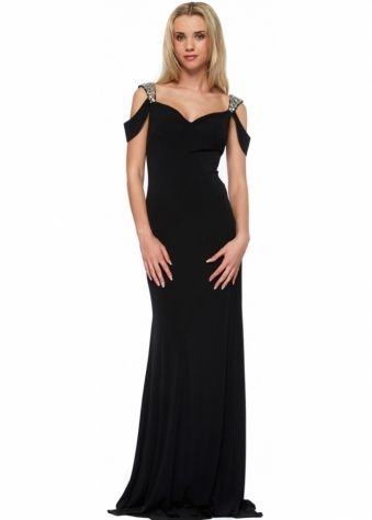 Black Raven Evening Dress With Jewelled Cut Out Shoulders