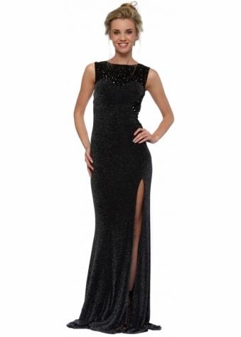 Latrice Black Lurex Mesh Beaded Bodice Evening Dress