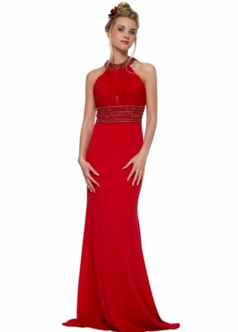 Corset And Dresses Backless Red Beaded Halterneck Felicity Maxi Dress