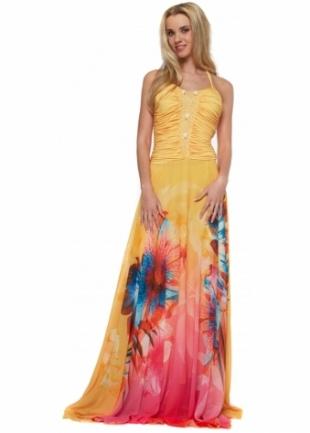 Pleated Bodice Printed Yellow Silk Chiffon Evening Dress