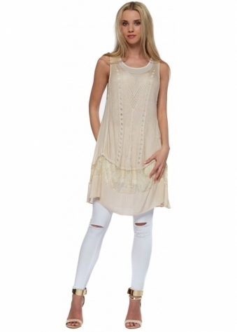 Designer Desirables Nude Crochet Panel Sleeveless Tunic Dress