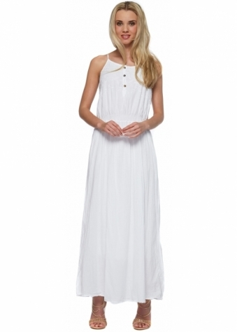 Shyloh White Embroidered Bodice Cotton Maxi Dress