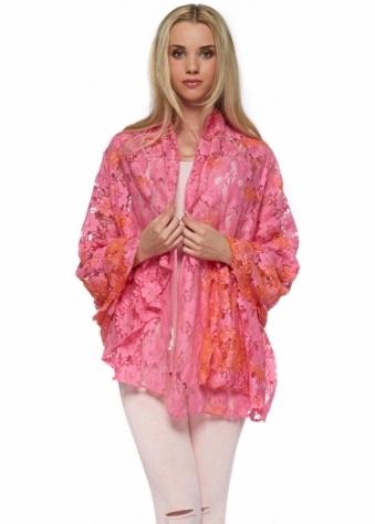 Antica Sartoria Hot Pink & Orange Lace Long Shawl