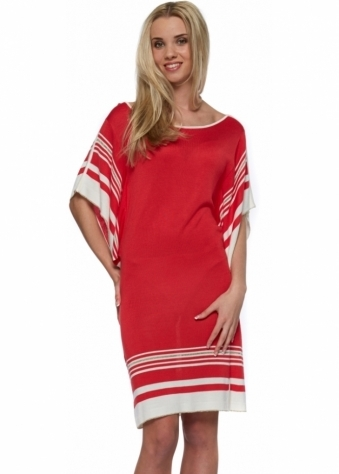 Odemai Fine Knit Red & Ivory Striped Batwing Sleeves Dress