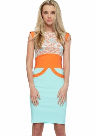 Tempest Orange & Mint Ollie Lace Pencil Dress